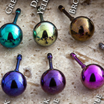 Threadless ball end for curved jewelry