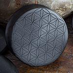Laser etched ebony wood plugs (Flower of Life)