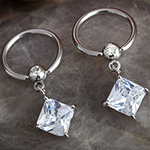 Captive with square gem dangle