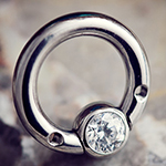 PRE-ORDER Steel septum ring with gemmed bead (no threaded ends)