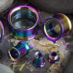 Titanium plated internally threaded eyelet (Rainbow)