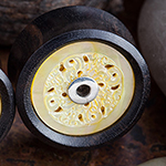 Ebony wood plugs with mother of pearl inlays