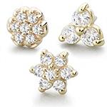 PRE-ORDER 14k gold threadless multi-gem ends