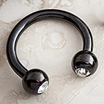 Black-coat circular barbell with gem balls