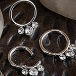 Steel three gem septum clicker