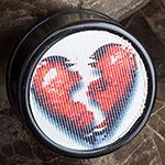 Acrylic lenticular image plug (Broken heart)