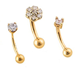 PRE-ORDER 14k gold curved eyebrow with gems