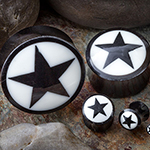 Black horn plugs with star inlay (Black)