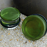Single flare translucent sparkle green colorfront pyrex plug