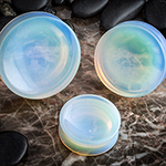 Concave opalite stone plugs