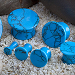 Mayan flare stone plugs (Synthetic Turquoise)