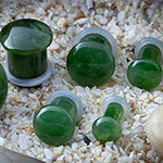 Single flare nephrite jade stone plugs