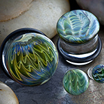 Single flare exotic blue/green feathered color front plugs