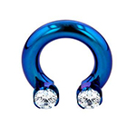 PRE-ORDER Titanium septum ring with prong set threaded ends