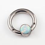 PRE-ORDER Steel septum ring with gemmed bezel (no threaded ends)