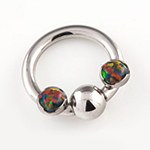 PRE-ORDER Titanium septum ring with gemmed bead and prong set threaded ends