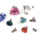 PRE-ORDER Titanium three prong set gem threaded end