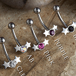 Steel gem and stars curved barbell