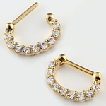 Gold colored septum clicker with prong set gems