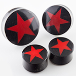 Black horn plugs with star inlay (Red)
