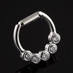 Titanium five gem septum clicker