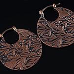Solid copper Leaf hoops (titanium clasp)