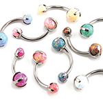 PRE-ORDER Titanium prong set faux-pal curved barbell