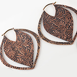Solid copper  Devil Leaf hoops (titanium clasp)
