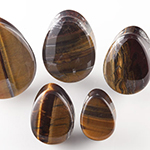 Tiger eye stone teardrop plugs