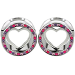 PRE-ORDER Steel gemmed eyelet with silver heart