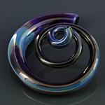 Pyrex glass 3D spirals (Mystic blue)