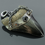 Oxidized sterling silver and megalodon teeth weights