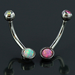 Curved barbell with opal and gem ends