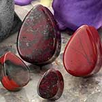 Blood jasper teardrop plug