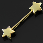 Gold colored star nipple barbell
