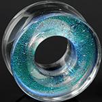 Fused dichroic eyelets (Smoke turquoise)