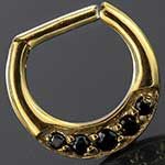 Gold colored five gem septum clicker