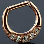 Rose gold colored five gem septum clicker