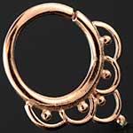 Rose gold plated ornate seamless septum ring