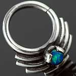 Sterling silver ornate seamless septum ring with opal