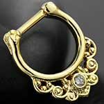 Gold colored Curlicue septum clicker