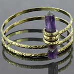 Brass coil bracelet with crystal
