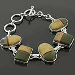 Sterling silver and Wildhorse picture jasper bracelet