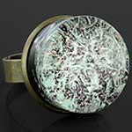 Bronze and pyrex glass pink diamond galaxy ring (Adjustable)