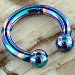 Internally threaded oilslick circular barbell