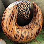 Palm wood carved hoops
