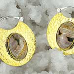 Silver and hammered brass solar moon hoops with ocean jasper
