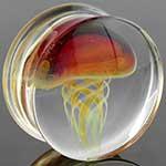 Pyrex glass jellyfish plugs (Amber/ purple on clear)