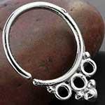 Silver tri circle septum ring