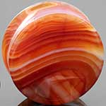 Double flare red agate concave plug